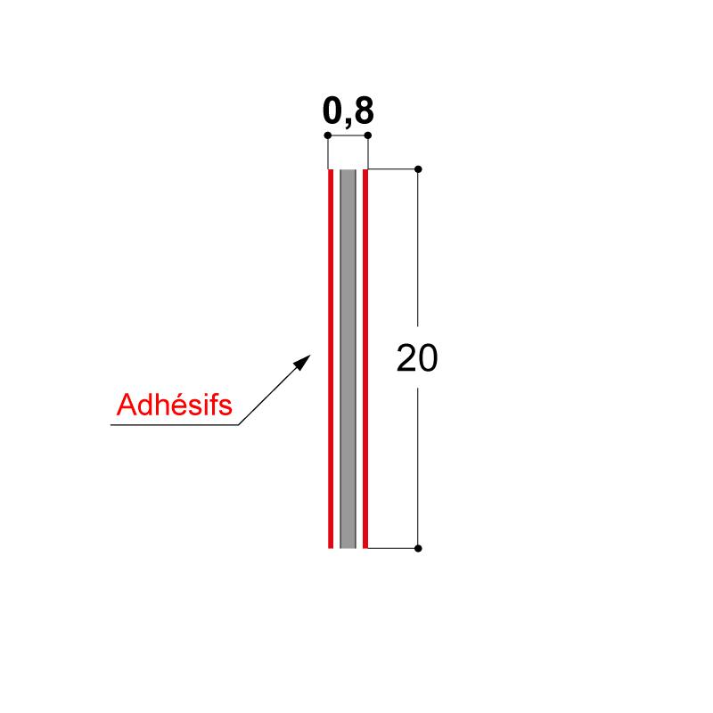 BANDE ADHESIVE 2 FACES 20X0,8 MM