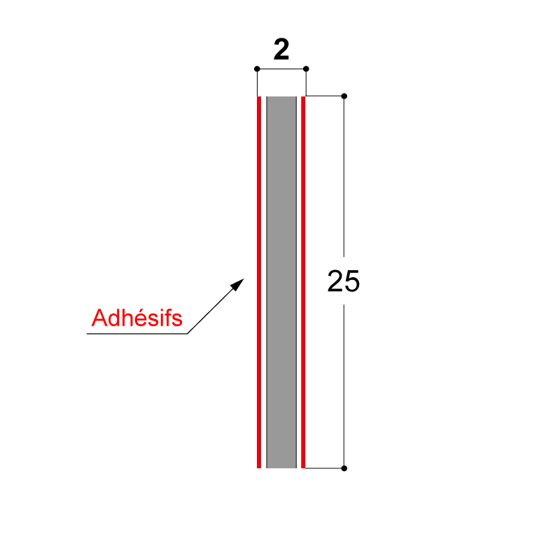ADHESIF DOUBLE FACE 25X2 MM