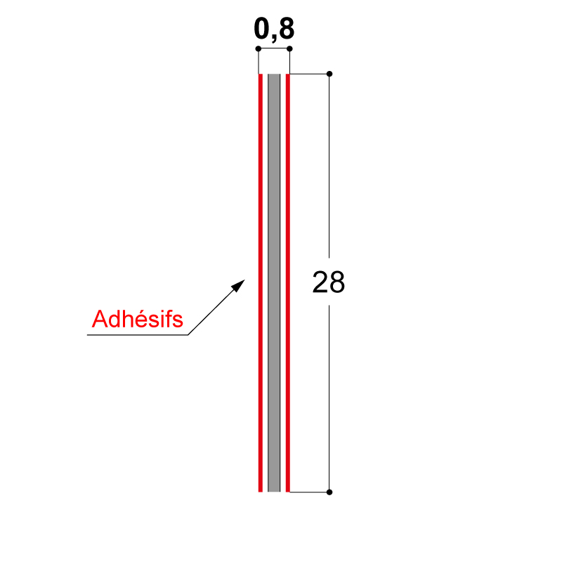 ADHESIF DOUBLE FACE 28X0.8 MM
