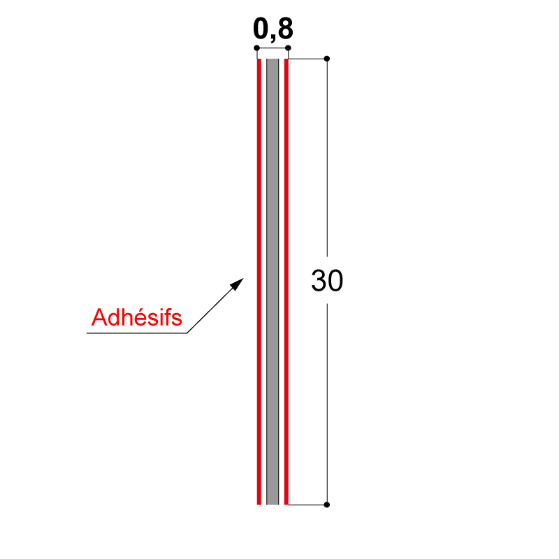 ADHESIF DOUBLE FACE 30X0.8 MM