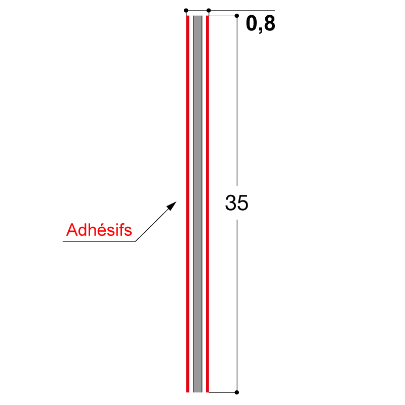 ADHESIF DOUBLE FACE 35X0.8 MM