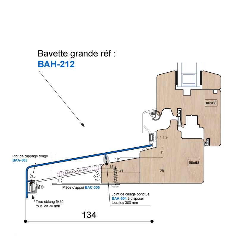 Bavette 134x57mm Drainage Usine Bah 212 Joint Dual